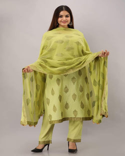 Gold block mehendi kurta pants with dupatta