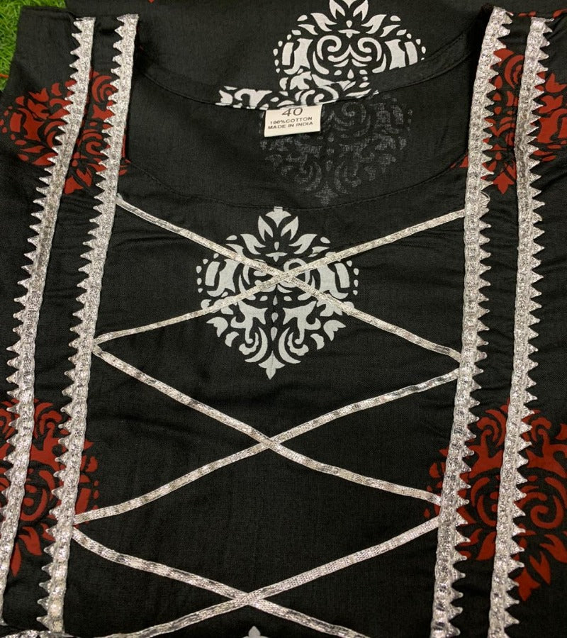 Black rayon gota lace black kurti with printed palazoo