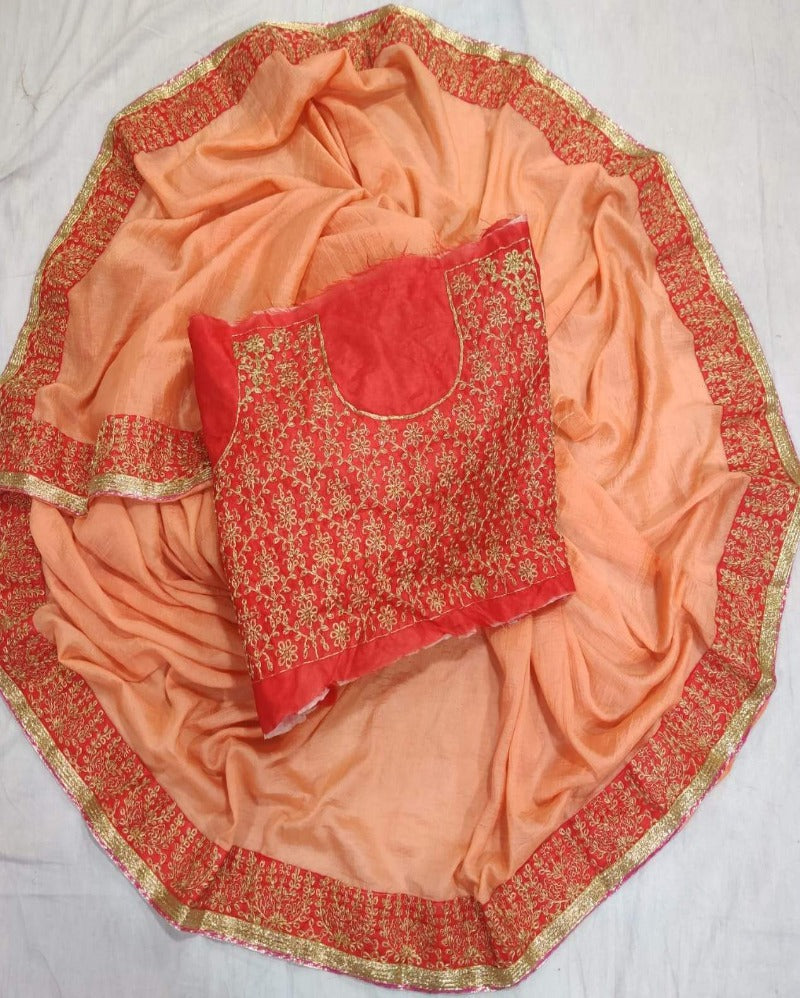 Peach  beautiful chandni Chiffon saree