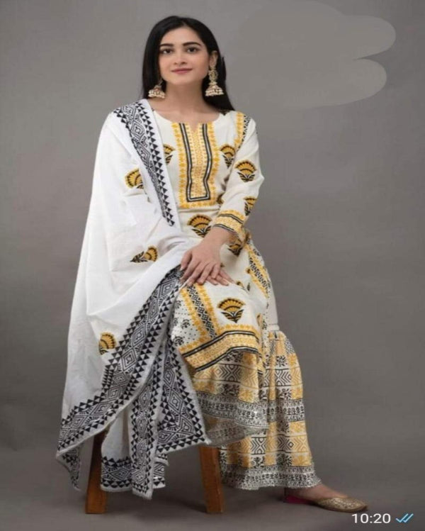 White kurti sharara with embroidery cotton dupatta