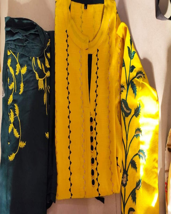 Yellow zing lining kurti with full bottom work sharara