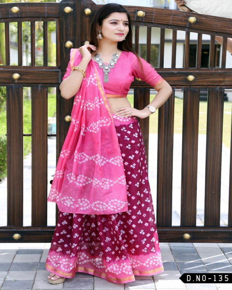 Pink with red bandhej silk nd weaving saree