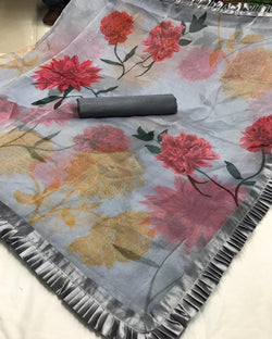 Grey organza digital print silk saree