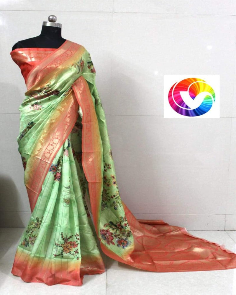 Green banarasi silk jacquard saree