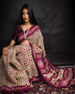 purple soft silk print saree