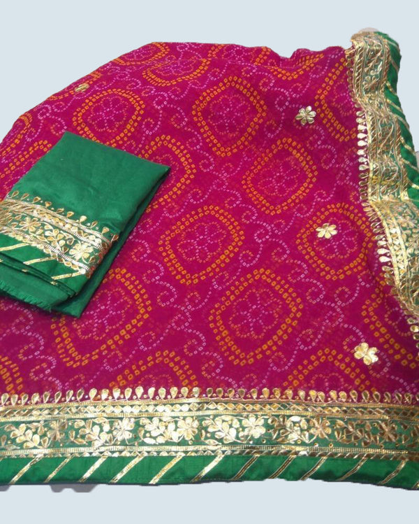 Green nd pink Gotapatti saree with dashing bandhej look