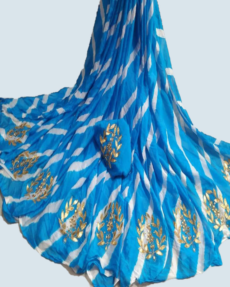 Blue Gotapatti saree with chiffon crepe