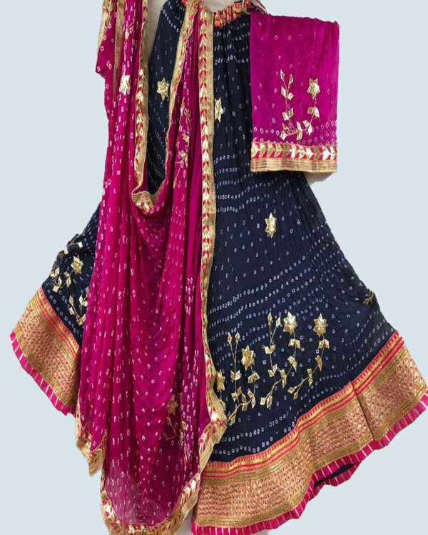 pink nd blue Bandhej lehenga with crep dupatta