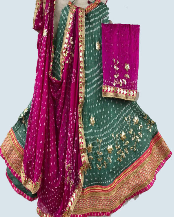 pink nd green Bandhej lehenga with crep dupatta