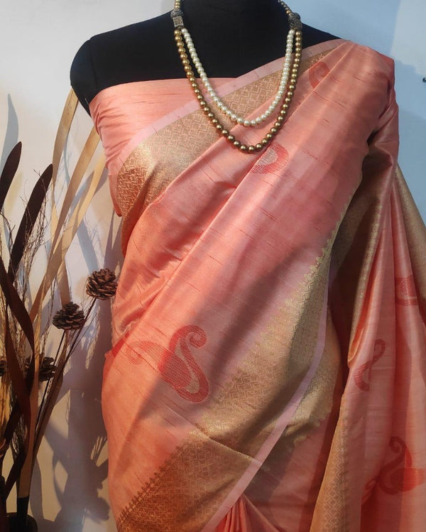 Red mulberry silk weaving saree
