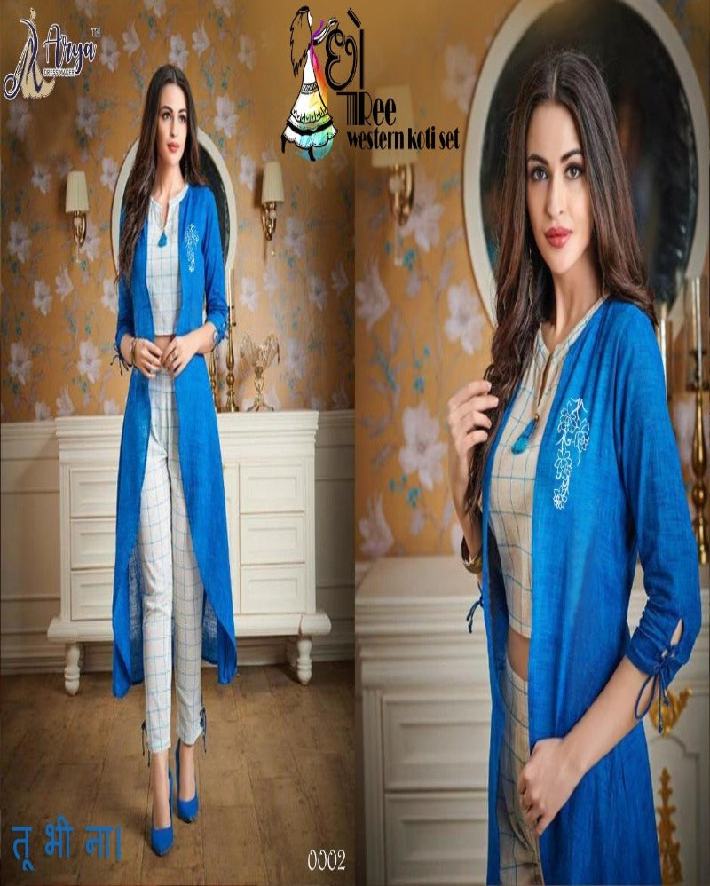 Blue kurti piece with print koti