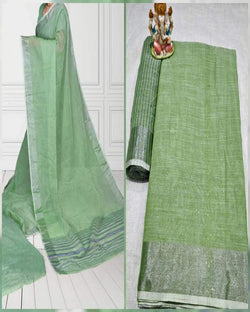 Green Cotton linen saree