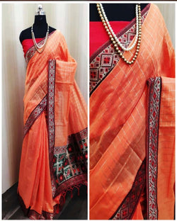orange chanderi cotton saree  with banarasi rich pallu