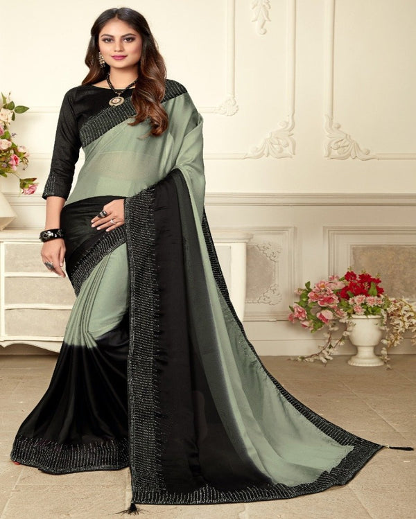 Grey with black contrast hot look silk saree
