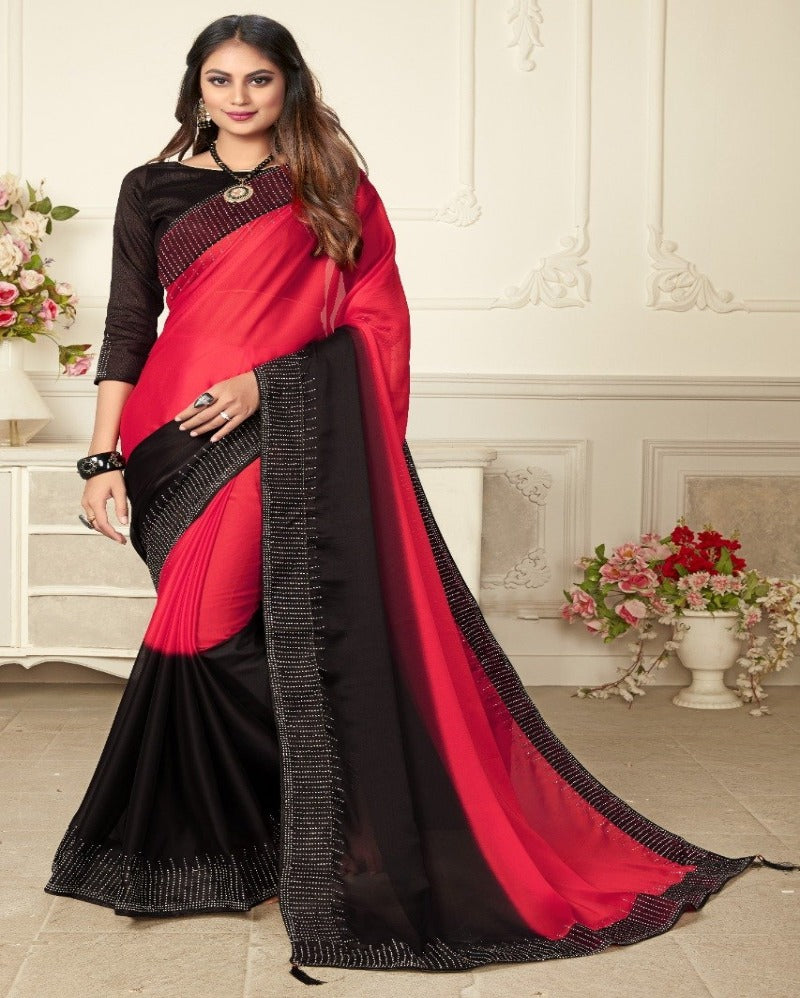pink with black contrast hot look silk saree