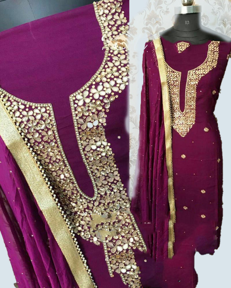 Purple geogratte neck n border dressmaterial