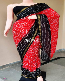 Red N black dott bandhej saree