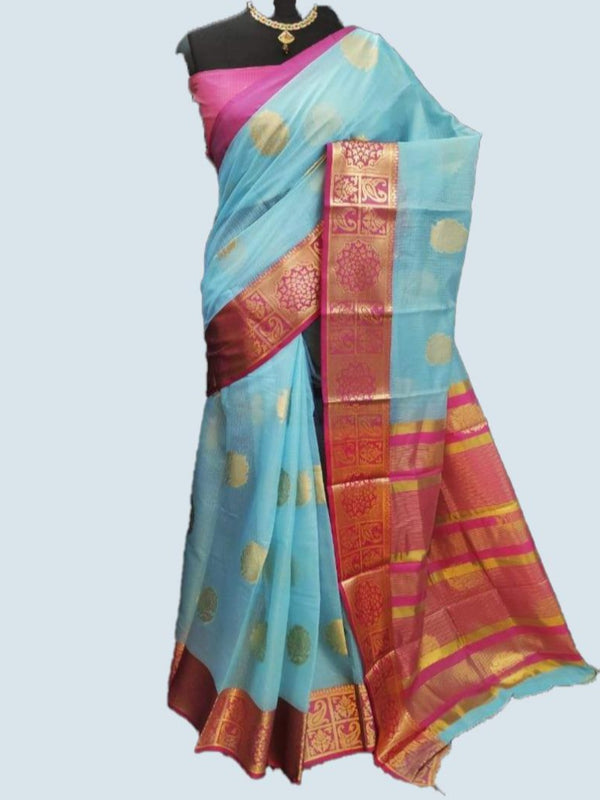 Blue Ashopalav soft crystal cotton saree