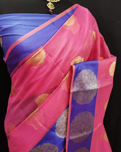 Pink Ashopalav soft crystal cotton saree