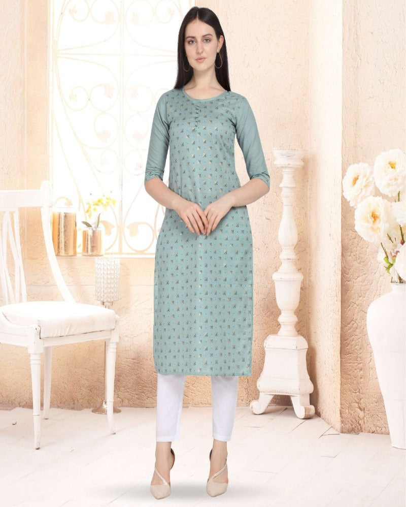 Light blue cotton floral print kurti