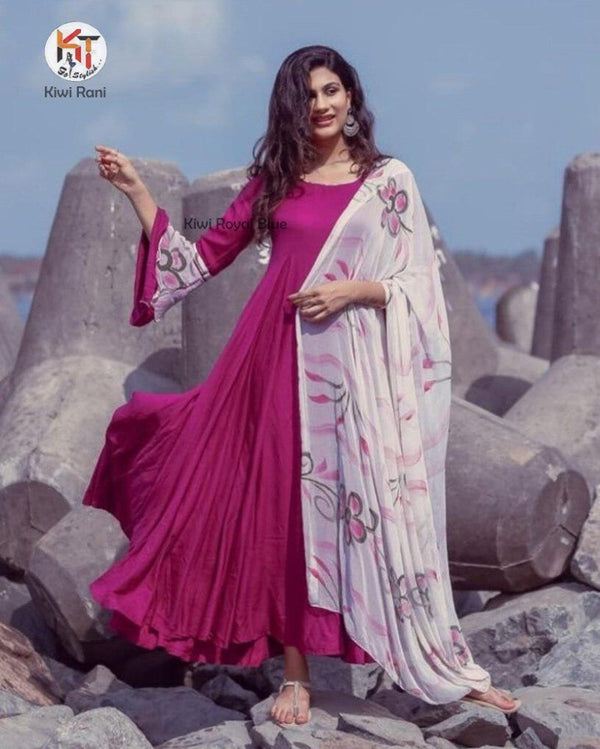 Pink plain full gown with chiffon dupatta