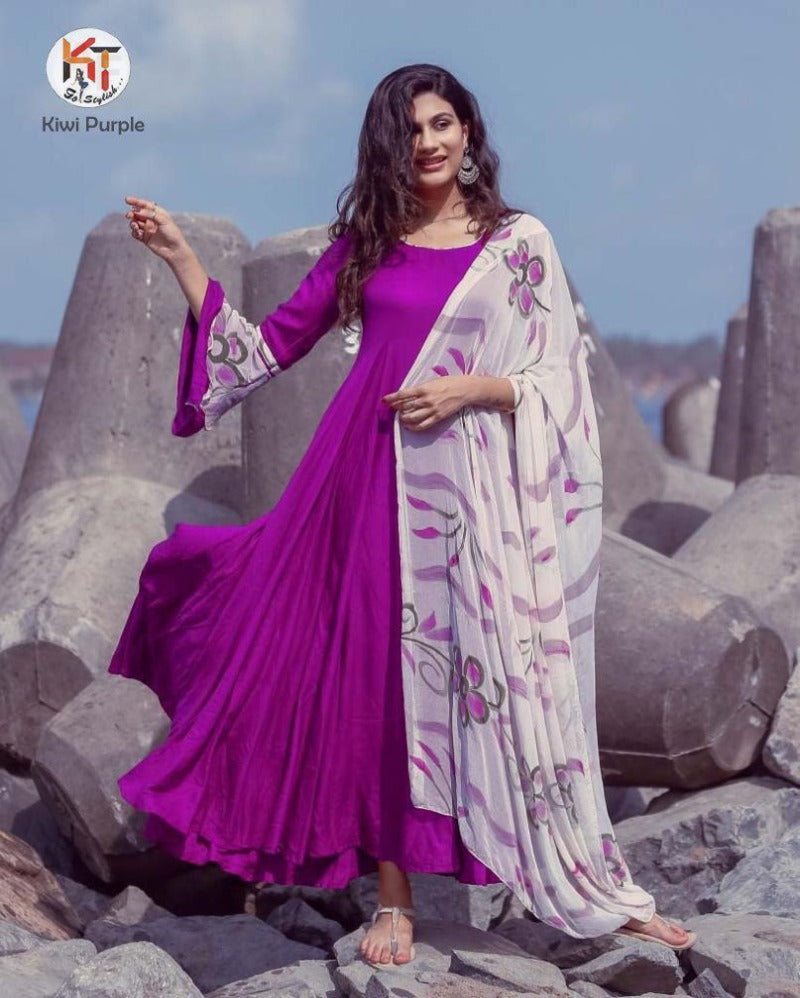 Magenta pink plain full gown with chiffon dupatta