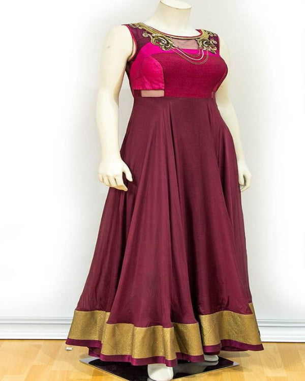 Designer anarkali wine gown
