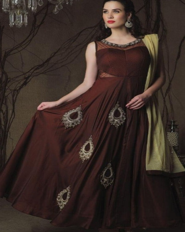 Designer anarkali brown  gown