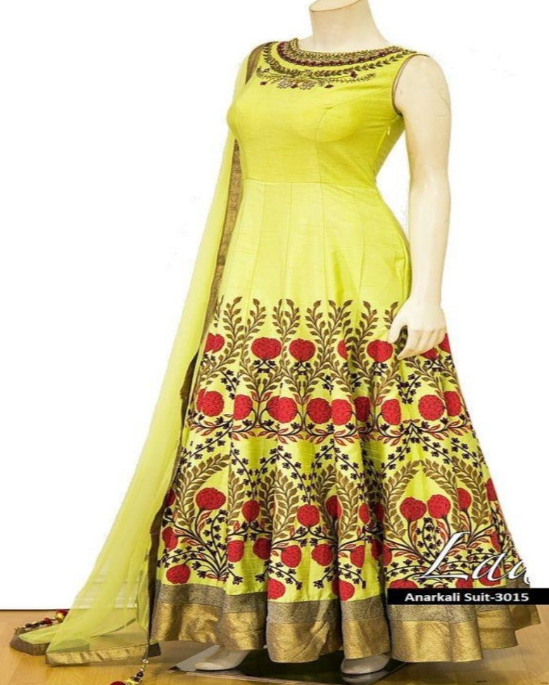 Designer anarkali yellow  gown