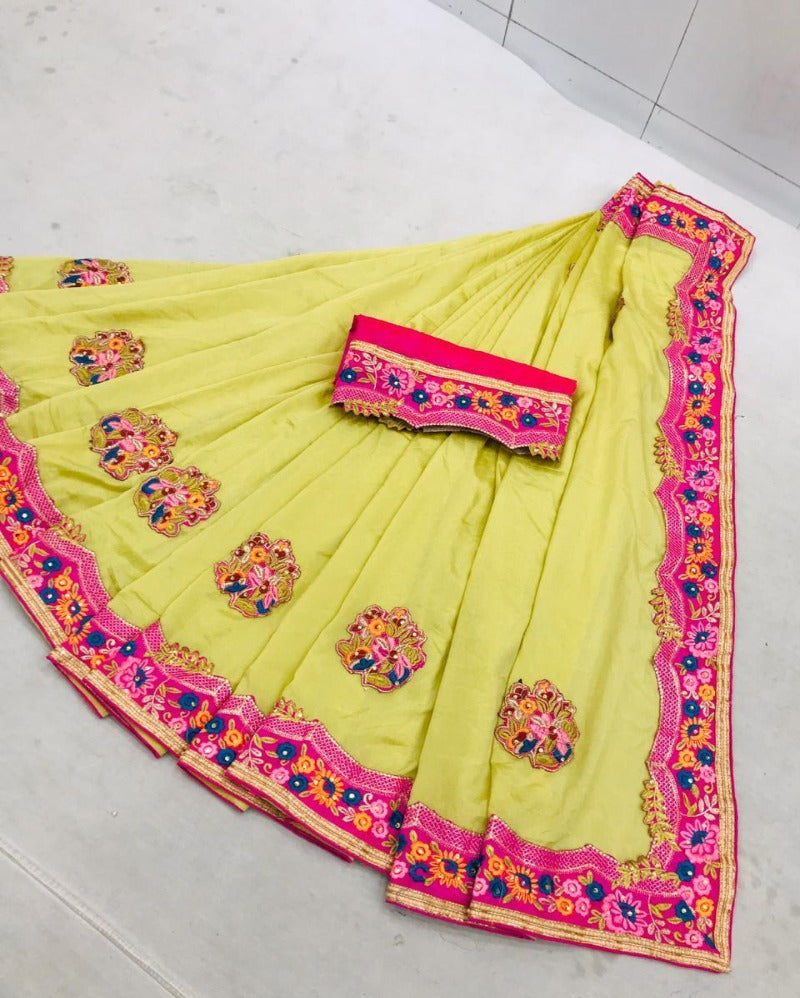 Yellow banglory embroidery silk saree