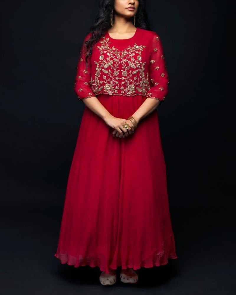 Red kurti jari gown style with jacket
