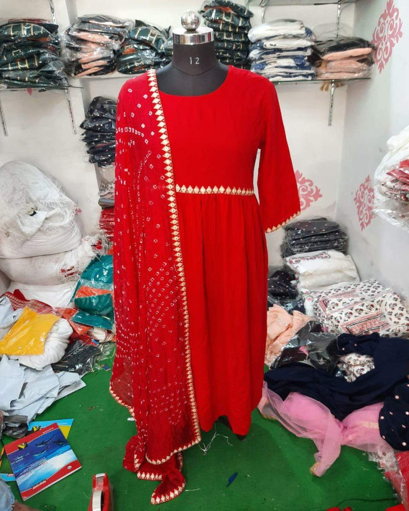 Rayon red embroidery gown with bandhej dupatta