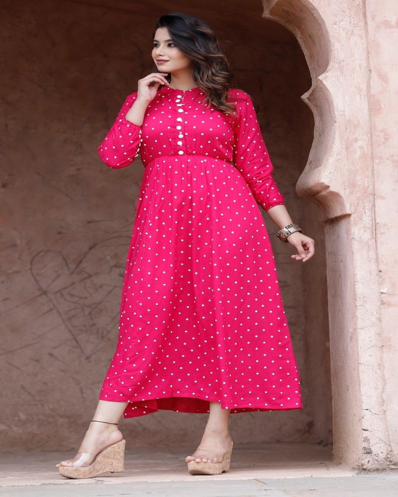 pink button neck sleeves full long gown