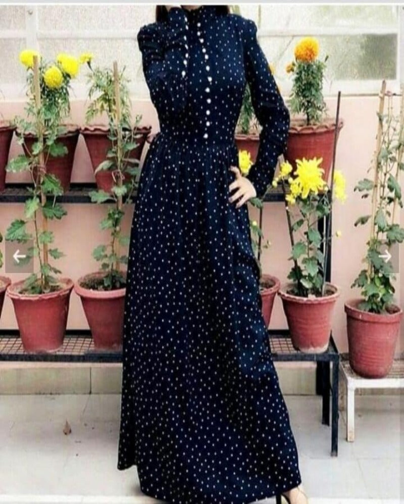 Navy blue button neck sleeves full long gown