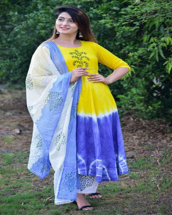 Cool tiedye handblock print gown pant with dupatta