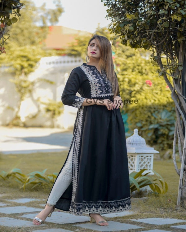Navy blue neck print work long kurti