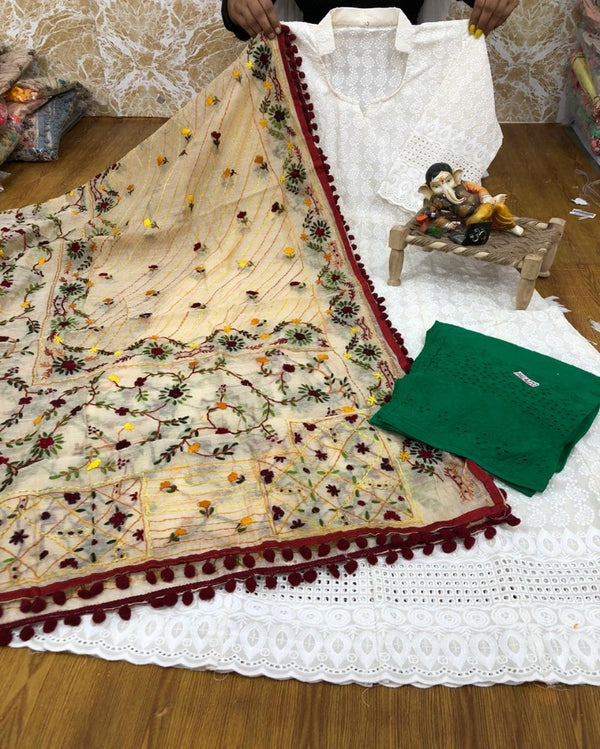 Maroon leaf chanderi dupatta  with chikan gown & palazoo