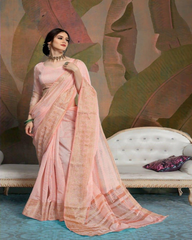 Peach weaving silk border saree