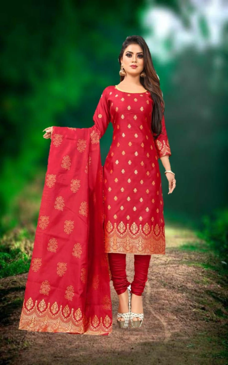 Red two rone gold work banarasi suitset