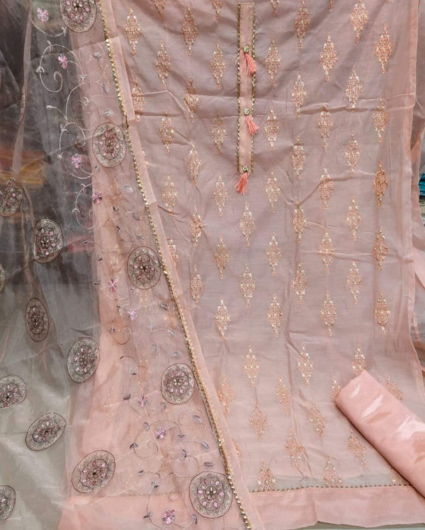 Peach heavy zari embroidery work dressmaterial