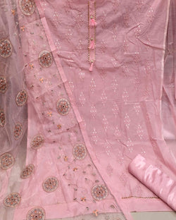 pink heavy zari embroidery work dressmaterial