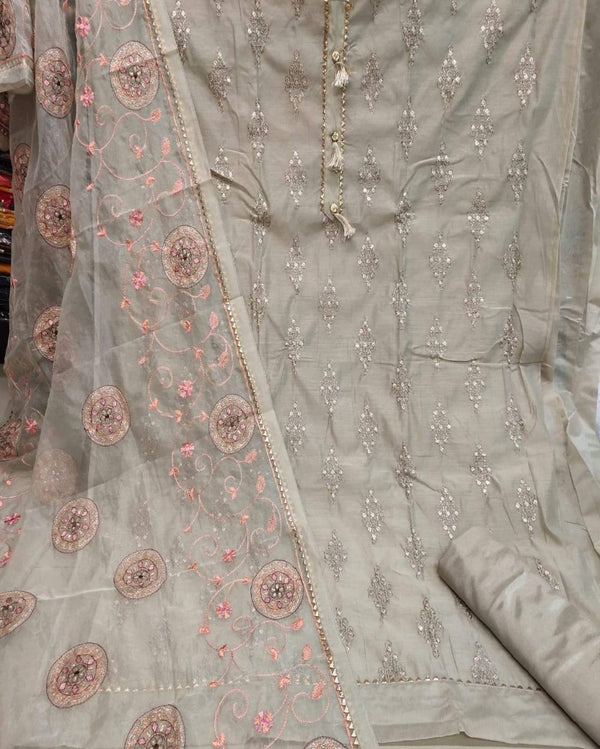 Grey heavy zari embroidery work dressmaterial