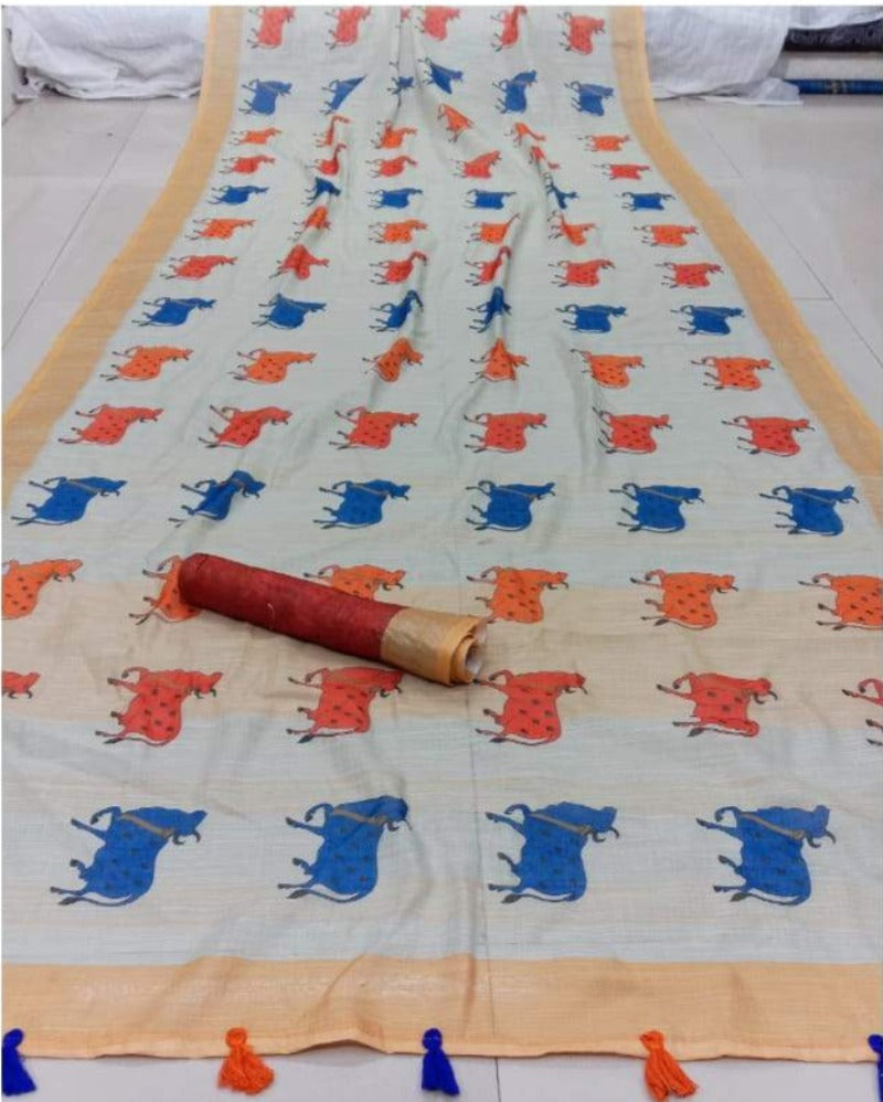 orange & blue disguise print linen saree