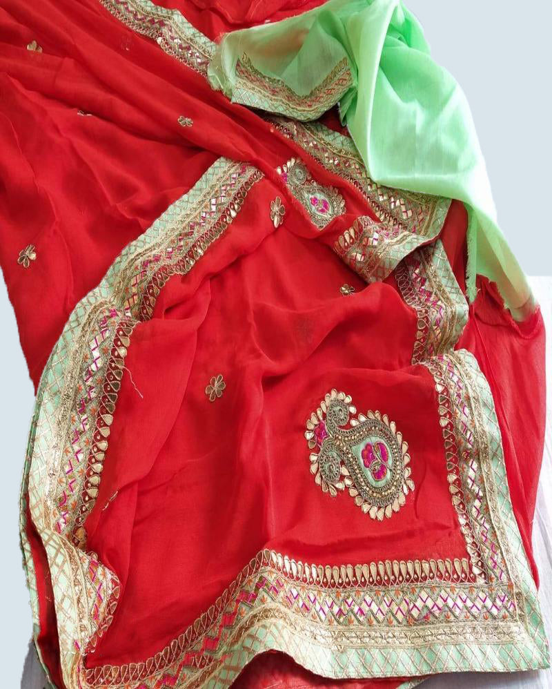 Red leaf handwork gottapatti saree
