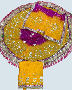 Yellow heavy silk leaf gottapatti lehenga