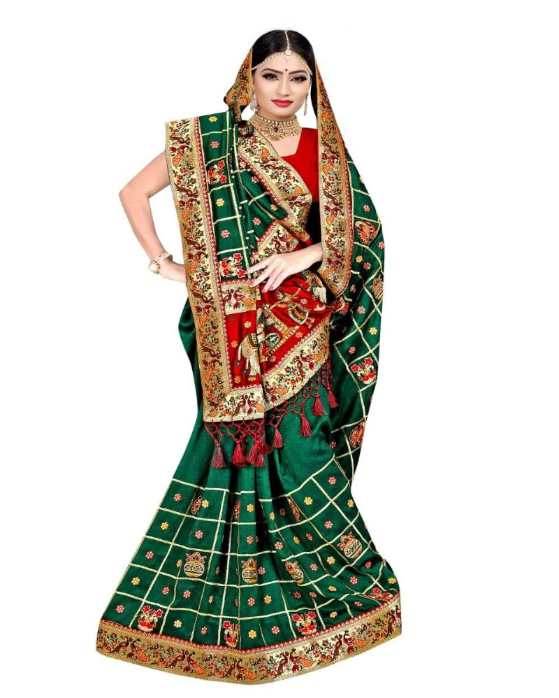 wedding wear heavy work green latkan silk saree