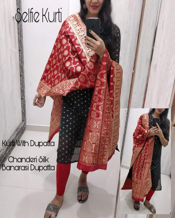 Red chanderi kurti with banarasi dupatta