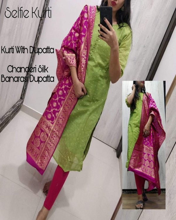 Parrot green chanderi kurti with banarasi dupatta