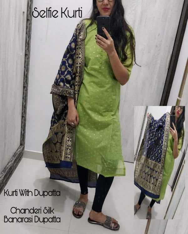 Green chanderi kurti with banarasi dupatta