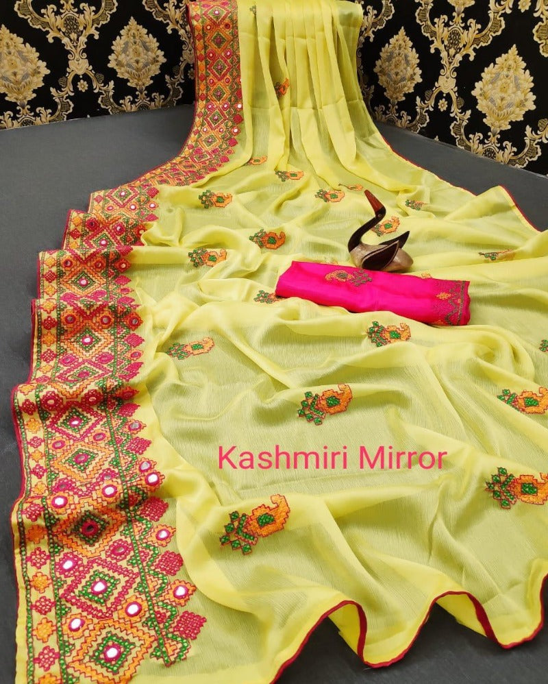 Kashmiri mirror yellow chiffon saree